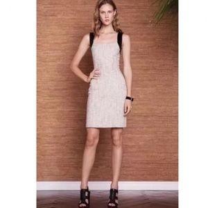 L'AGENCE Cream Tweed Sheath Leather Strap Dress 6
